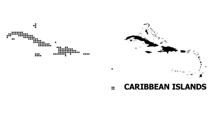 Pixel Mosaic Map of Caribbean Islands