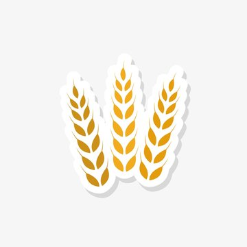Wheat sticker in trendy design style. Wheat icon isolated on white background