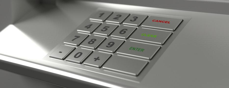 ATM machine keypad, banner, closeup view. 3d illustration