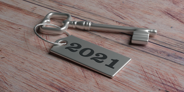 2021 New year, Label 2021 on door key against wood. 3d illustration
