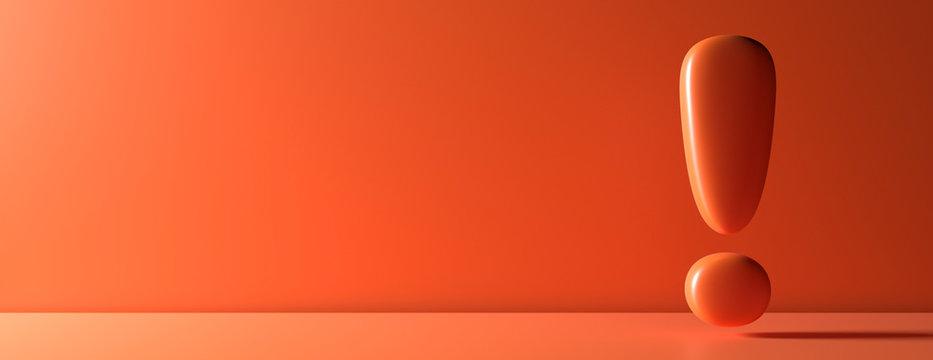 Exclamation mark on orange color wall background. 3d illustration