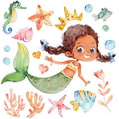 Mermaid Watercolor African Character Ocean Set
