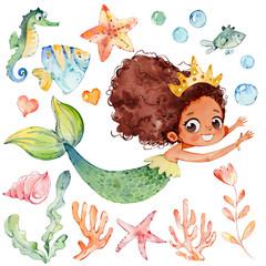 Cute Mermaid Watercolor African Character Set