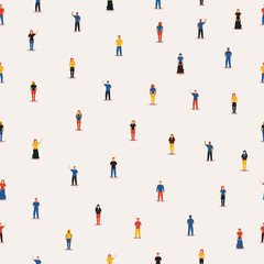 Diverse people group seamless pattern background