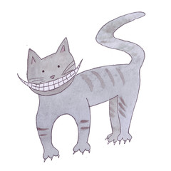 "Cheshire gray cat with a huge smile and lots of teeth from Lewis Carroll's fairy tale ""Alice in Wonderland"". Watercolor hand drawn illustration"