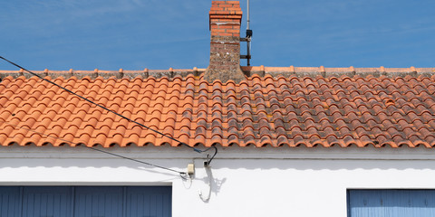Comparison Roof cleaning moss and lichen before and after high pressure water cleaner tile