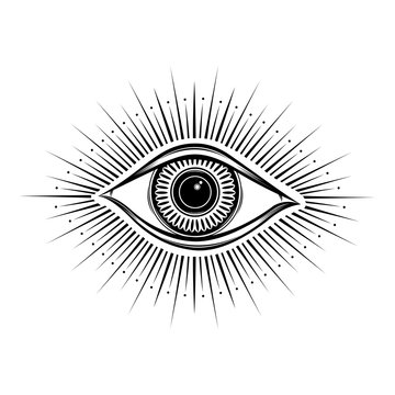 All seeing eye symbol. Vision of Providence. Alchemy, religion, spirituality, occultism, tattoo art. Isolated vector illustration. Conspiracy theory. Decorative drawing style. Priint logo