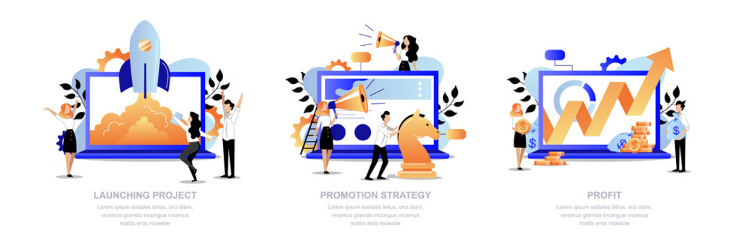 Project promotion, marketing strategy concept. Business team launch startup, promotes, get profit. Vector illustration
