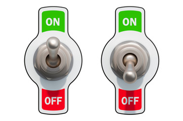 Toggle Switches on and off, 3D rendering