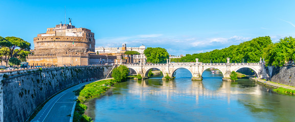 Castel Sant'Angelo and Ponte Sant'Angelo - bridge over the Tiber River, Rome, Italy
