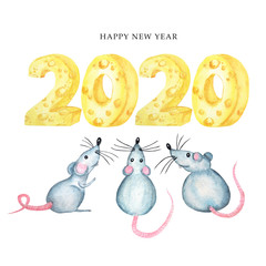 2020 cheese font greeting card. Watercolor cartoon hand drawing Rat symbol of the Chinese horoscope 2020 year. Happy Chinese rat new year card. Isolated on a white background