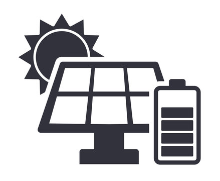 Sun charging battery solar energy panel vector icon