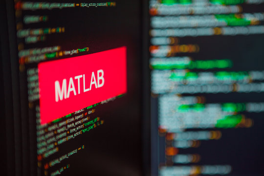 Programming language, MATLAB inscription on the background of computer code.