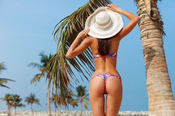 Sexy back of a beautiful unrecognizable woman relaxing and sunbathing in bikini on sea background and palm. Sexy buttocks. Panoramic view from Al Mamzar beach Dubai, UAE. Famous tourist destination.