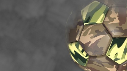 Military camouflage Soccer ball with dark toned foggy smoke background. 3D sketch design and illustration. 3D high quality rendering.