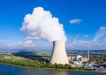 Isar Nuclear Power Plant, Niederaichbach reservoir, near Landshut, Bavaria, Germany, drone shot