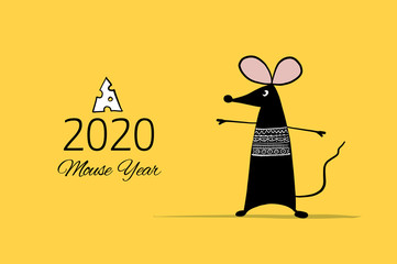 Funny mouse, symbol of 2020 year. Banner for your design