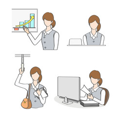 Working Woman charactor set with different gestures