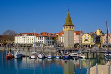 Harbor with Mangturm, Lake Constance, Lindau, Bavaria, Germany