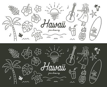 ハワイ南国ペン画手描き色々