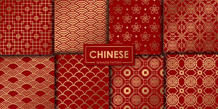 Golden chinese seamless pattern collection, Abstract background, Decorative wallpaper.