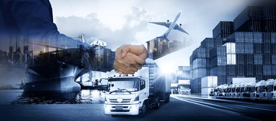 Wall Mural - Business people shaking hands, success business of Logistics Industrial Container Cargo freight ship for Concept of fast or instant shipping, Online goods orders worldwide