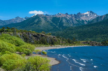 Beautiful mountain lake in the Los Alerces National Park, Chubut, Argentina, South America