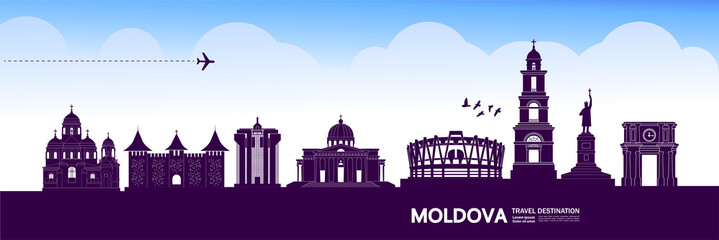 Fotomurales - Moldova travel destination grand vector illustration.