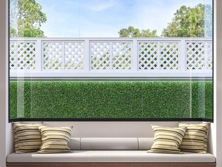 Modern window seat 3d render,There are white room,wood and fabric seat,decorate with many pillow.There are big windows looking to see house fence and garden.