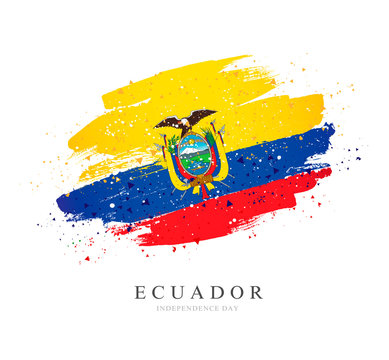 Flag of Ecuador. Brush strokes drawn by hand. Independence Day.