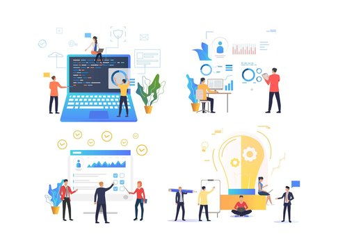 Set of programmers working on software. Flat cartoon characters coding app, improving accounts, brainstorming about project. Can be used for presentation, web design, placard