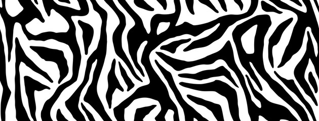 Zebra fur repeating texture. Animal skin stripes, jungle wallpapers. Black and white seamless pattern. Vector