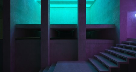 Abstract architectural concrete and white interior of a minimalist house with color gradient neon lighting. 3D illustration and rendering. Wall mural