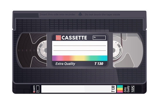 Isolated vintage VHS tape. Vector colored illustration on light background. Original retro object. ESP10.