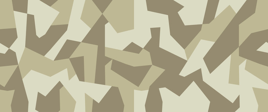 Military camo seamless pattern. Geometric camouflage backdrop in light green and beige color. Stock vector background.