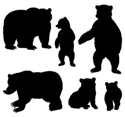 Grizzly Bear Silhouettes Beat Cubs Animal Vectors