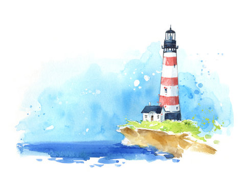 Watercolour sketch of a lighthouse at the seaside, seascape