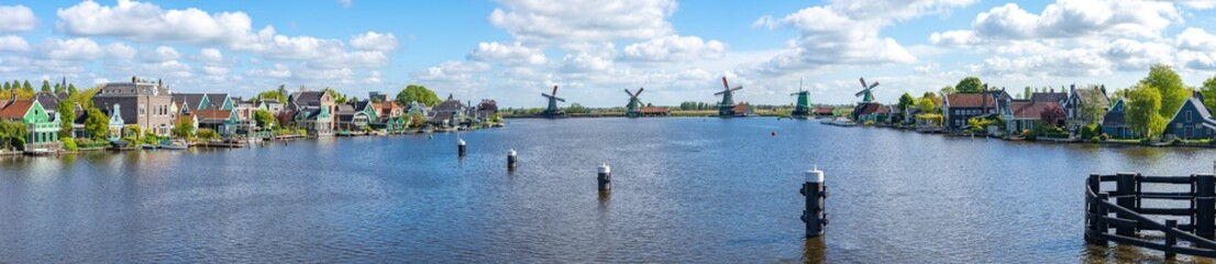 Panorama view of Windmills at Zaanse Schans and Zaandijk town in Netherlands