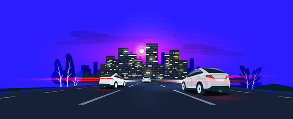 Foto auf Acrylglas Dunkelblau Traffic on the highway panoramic perspective horizon vanishing point view. Vector cartoon style illustration urban landscape street with cars, night skyline city buildings and road going to the city.
