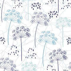 Vector organic floral seamless abstract background, botanical motif, freehand doodles pattern. Hand drawn fennel or dill flowers and abstract leaves outlines in pastel colors.