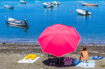 parasol sur plage de Bassin Pirogue, Réunion