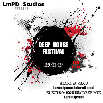 Black and red grunge music festival poster with sample text