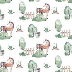 Watercolor seamless pattern with cute farm animals with goat, horse, goose and cow. chicken, sheep and pig domestic animal illustration.