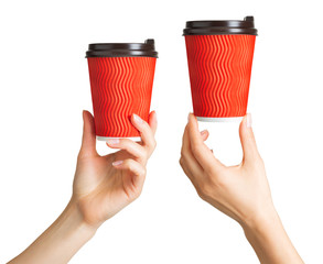 Set of women hands holding coffee paper drinking cup