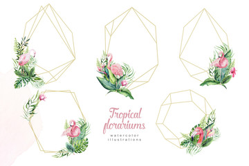 Hand drawn watercolor tropical gold florariums with flamingo. Exotic florarium frame illustrations for text, jungle backgraund Perfect for wedding Aloha invitation