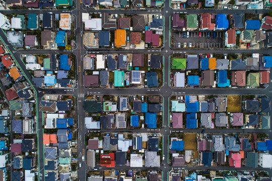 日本の住宅地、空撮