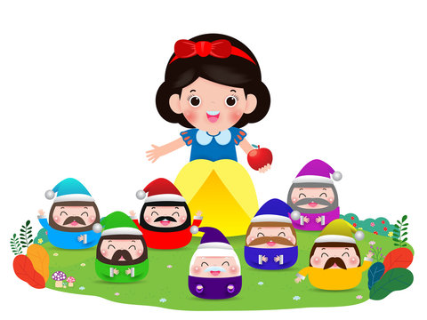 snow white and the seven dwarfs, Snow White isolated on white background, Princess and Dwarfs and witch, Vector Illustration