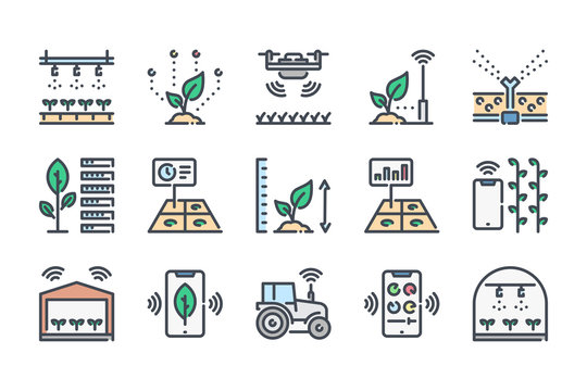 Smart farm related color line icon set. Farm technologies colorful linear icons. Food and farming science flat color outline vector sign collection.
