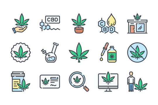 Cannabis and CBD related color line icon set. Cannabidiol colorful linear icons. Marijuanas flat color outline vector sign collection.