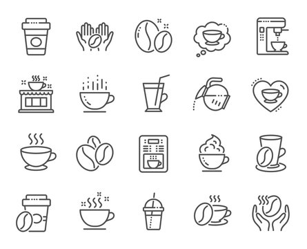 Coffee line icons. Beans, hot cocktail and coffee maker machine. Espresso cup, cappuccino with whipped cream line icons. Latte vending machine, breakfast drink and roasted beans. Vector